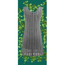 Vestido Corto Tejido A Crochet Con Forro