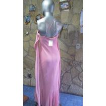 Vestido De Fiesta De Gasa Color Rosa Nuevo Con Etiqueta