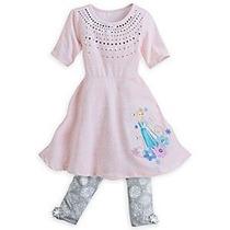 Vestido Con Calza Elsa Frozen Original Disney Store 7/8 Años