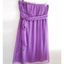 Precioso!! Vestido De Gasa Strapless Lila Talle M - Nuevo!!!