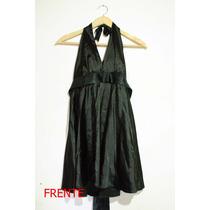 Vestido Corte Marilyn De Raso Negro Con Laso