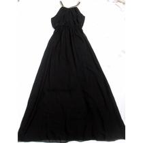 Vestido Largo Negro Sin Mangas Con Collar Nuevo Talle M