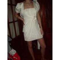 Vestido De Fiesta Corto Color Manteca Zhoue T.40 Impecable!