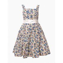 Vestido De Nena Importado, Floreado, Brishka N-0039