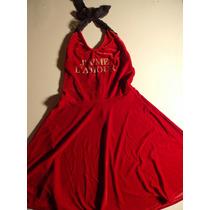 Vestido Plush Rojo Espalda D Encaje Estampa Dorada Y Pollera