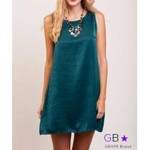 Vestido Gota Seda Verde, Talle Unico, Codigo V0388a