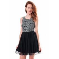 Vestido Corto Con Lentejuelas Y Falda De Tul, M-0034
