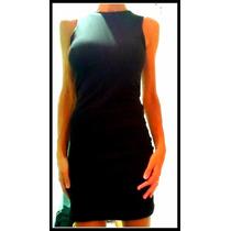 Vestido De Algodon Y Lycra Negro Con Espalda Semi Descubiert