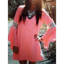 Vestido Gasa Color Rosa Salmón Corto Con Mangas Importado