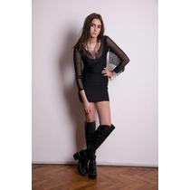 Vestido Negro Flecos - Fiesta