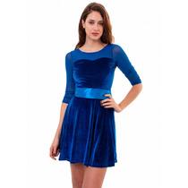 Vestido Corto Terciopelo Con Transparencias, Brishka M-0030