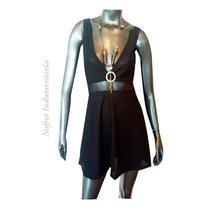 Vestido Corto Negro Tul Escotado Fiesta Noche Civil T U