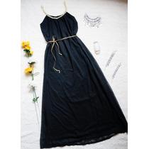 Maxi- Vestido Largo Modal Y Lycra, Negro Con Blanco Fiestas