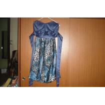 Vestido Strapless, Color Azul De Razo Y Gaza