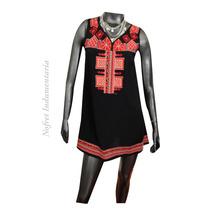 Vestido Túnica Negro Bordado Inca Mujer Nuevo - Talle Unico