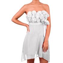 Vestido Corto De Gasa, Con Flores, Strapless, Brishka M-0016