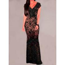 Hermoso Vestido De Fiesta De Encaje- De Diseñador!!!