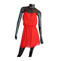 Vestido Corto Rojo De Gasa Fiesta Noche