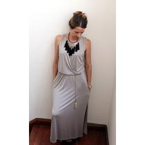 Vestido Seda Fria Largo Informal Con Bolsillo Y Cinto