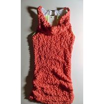 Vestido Corto Coral Espalda Descubierta Elastizado Nuevo Som