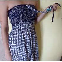 Vestido Fibrana Motivi Strapless Elastizado Círculos