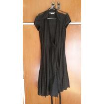 Vestido Con Vuelo Negro Cruzado Zara Calado Medium