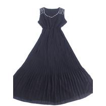 Vestido En Organza Largo Plisado Negro Con Strass Talle L