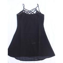 Vestido Negro Estilo Camisolín Mujer Nuevo Talle S