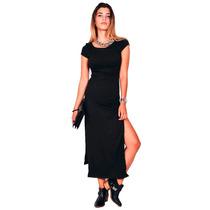 Vestido De Mujer Negro Largo Con Tajos En Gamuza Sexy