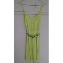 Vestido Ona Saez Verde Limon Ts Breteles Lazo Hindu Corto