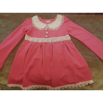 Vestido Nena Fuccia Nuevo Con Broderie Color Crema Apliques