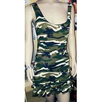 Vestido Mujer Importado Guerra Camuflaje Armada Ajustado