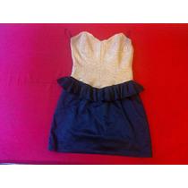 Vestido Colección Vestite Y Andate Talle S 38/40 Oro/negro.