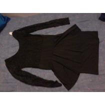 Vestido Lycra Negro Con Parte Superior Encaje