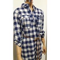 Vestido Camisa Cuadrille Escocesa Larga Incluye Cinturon
