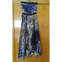 Lote Vestidos De Satén Estampado,strapless, Corte Irregular