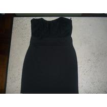 Vestido Minifalda Negro Strapless Con Encaje Nuevo Sin Uso