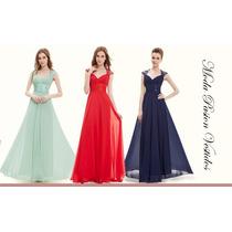 Elegante Vestido De Gala Con Cola Azul Noche Moda Pasion