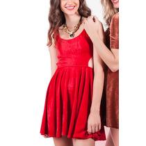 Vestido Corto De Terciopelo Rojo Noche Mujer Basilotta