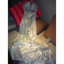 Vestido Largo Lycra Plata Escote Triangulo Bikini Dancer