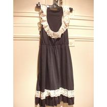 Vestido Negro Sin Mangas Con Cintura Ajustable - Talle M