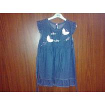 Vestido - Jumper De Jean Con Apliques De Mariposas