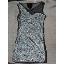 Espectacular Vestido Importado Usa Modal Tull Lentejuelas