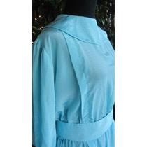 Vestido De Seda Retro Vintage Cuello Bebe T.m