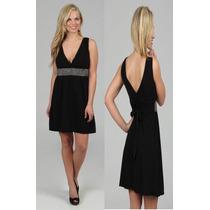 Vestido Corto Negro Con Detalle Simil Strass Importado