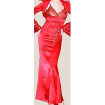 Vestido De Fiesta En Raso Rojo Y Lentejuelas Doradas!!