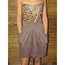 Vestido Strapless Marrón Animal Print Encaje Y Modal