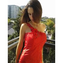 Vestido De Fiesta Largo Rojo Pintado A Mano Con Flores