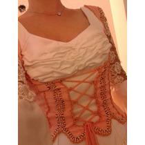 Vestido 15-novia Corset Manga Larga Desmontable Espalda Desc
