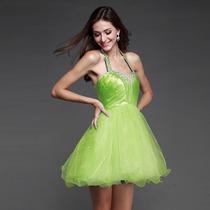 Vestido Fiesta 15 Años Casamiento Verde Corto Importado